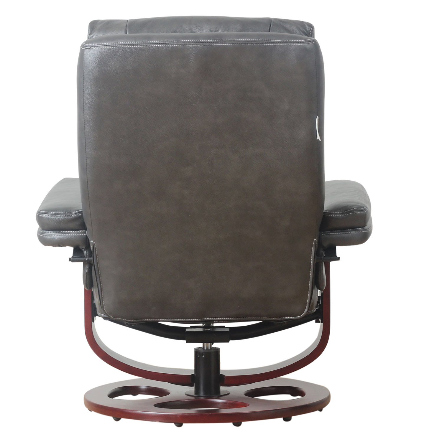 Barcalounger Bella Pedestal Recliner Chair and Ottoman - Chelsea Graphite/Leather Match