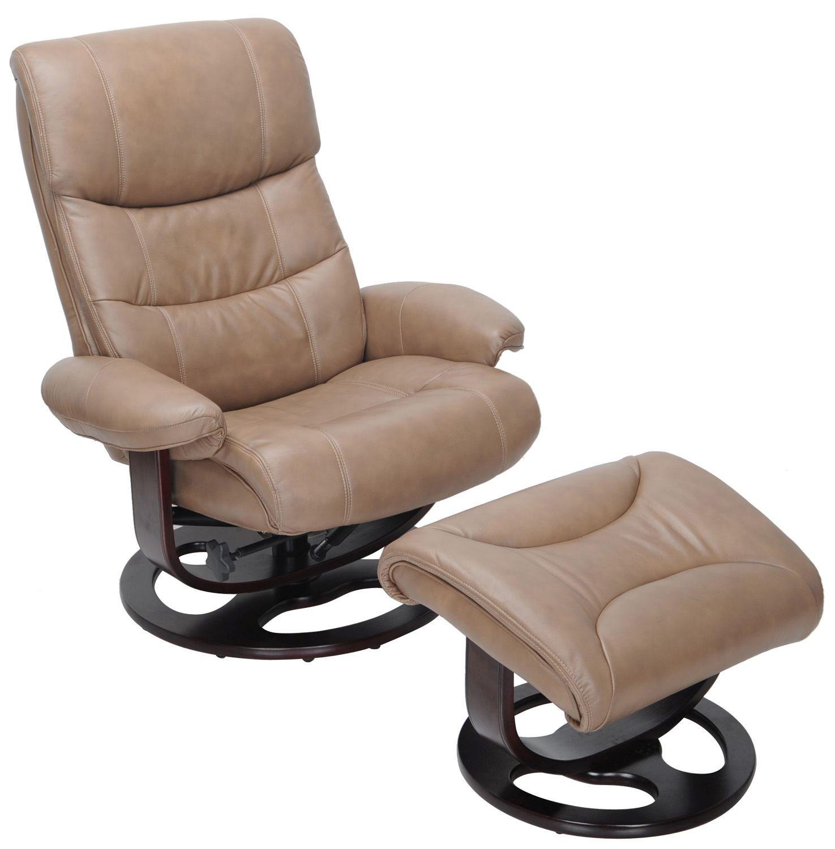 Barcalounger Dawson Pedestal Recliner Chair and Ottoman - Frampton Brown/Leather Match