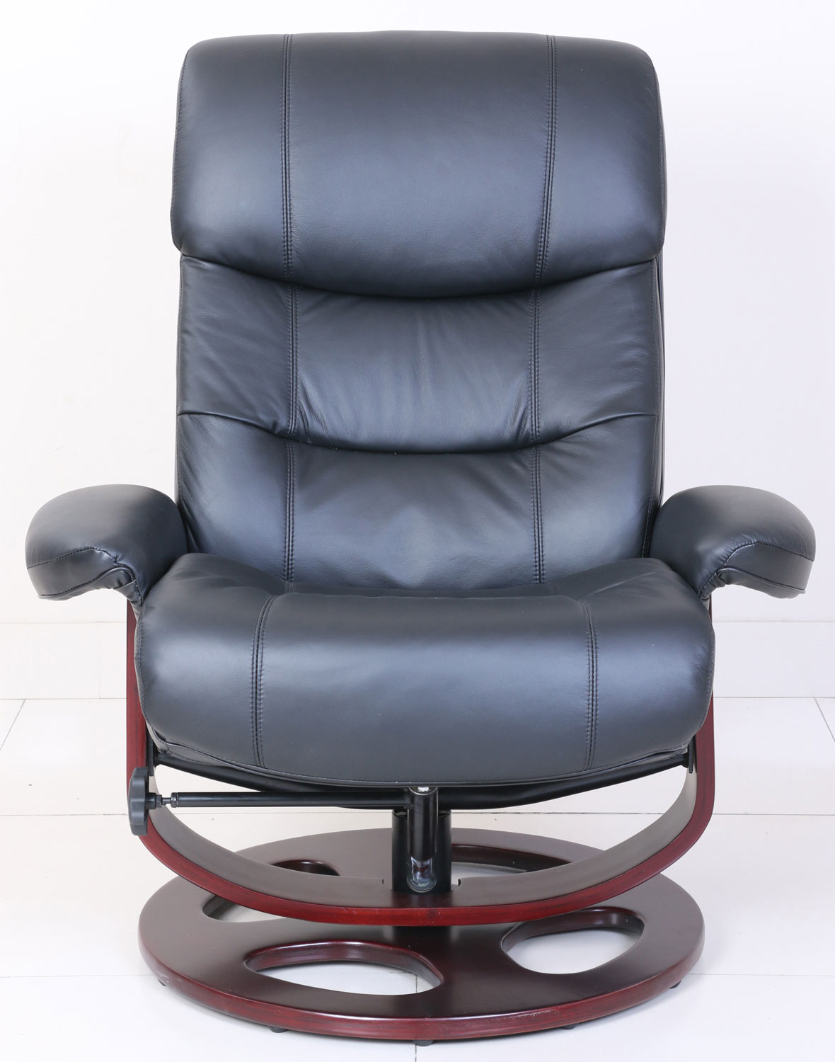 Barcalounger Dawson Pedestal Recliner Chair and Ottoman - Frampton Black/Leather Match