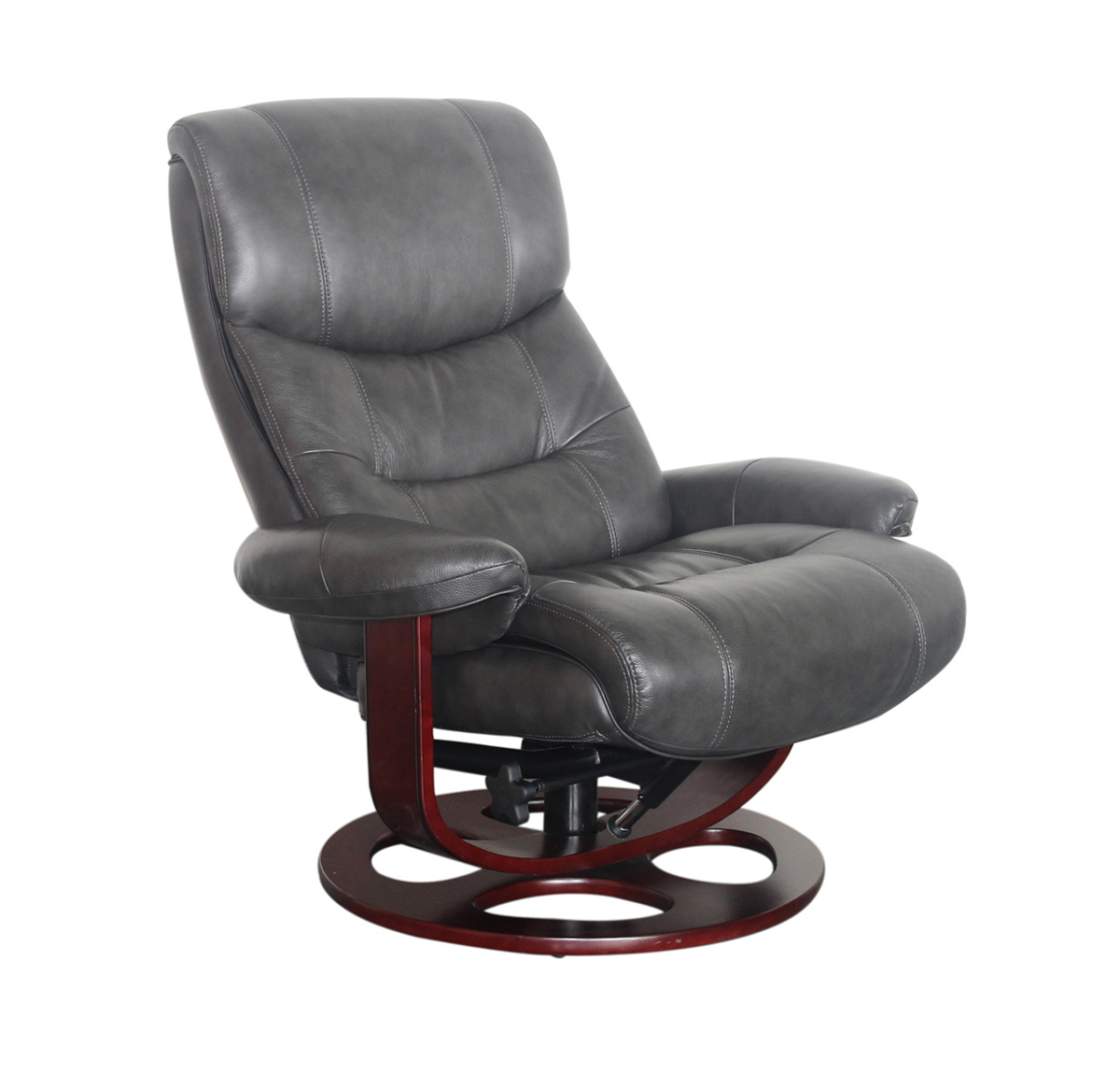 Barcalounger Dawson Pedestal Recliner Chair and Ottoman - Chelsea Graphite/Leather Match