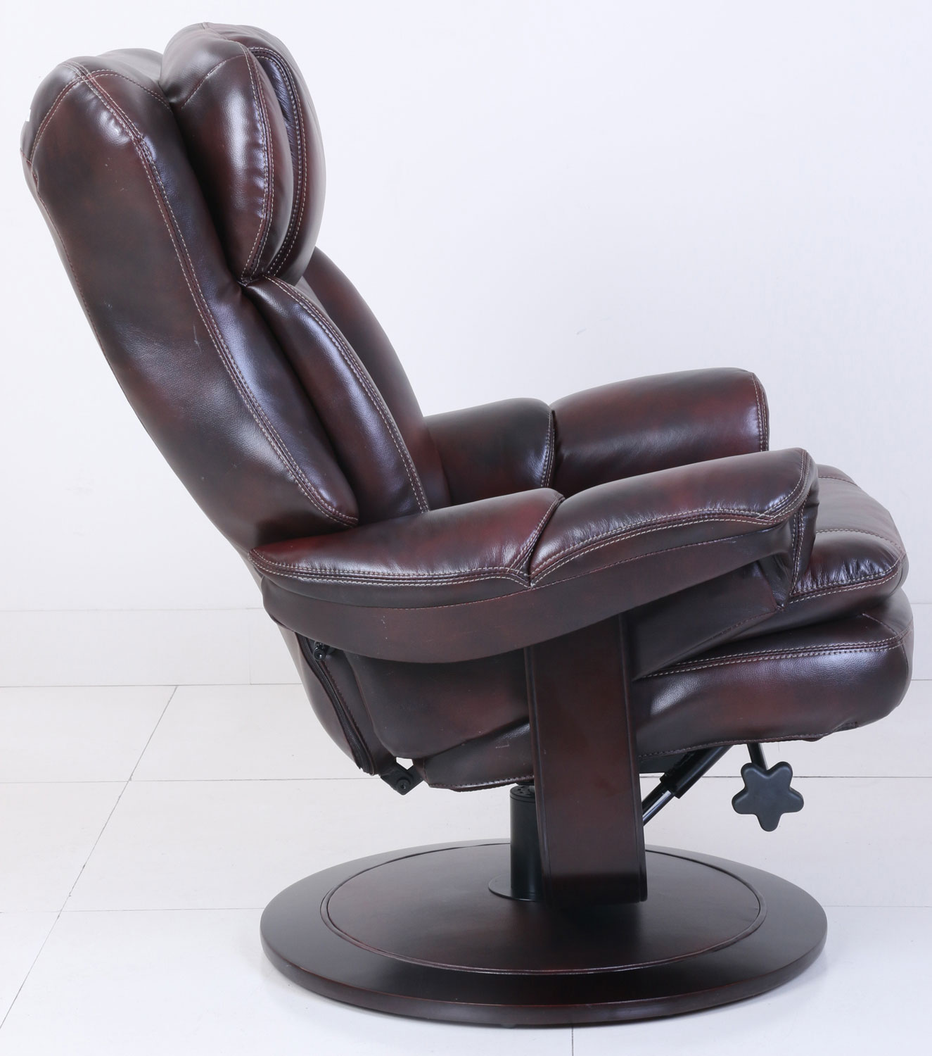 Barcalounger Roscoe Pedestal Recliner Chair and Ottoman - Plymouth Mahogany/Leather Match