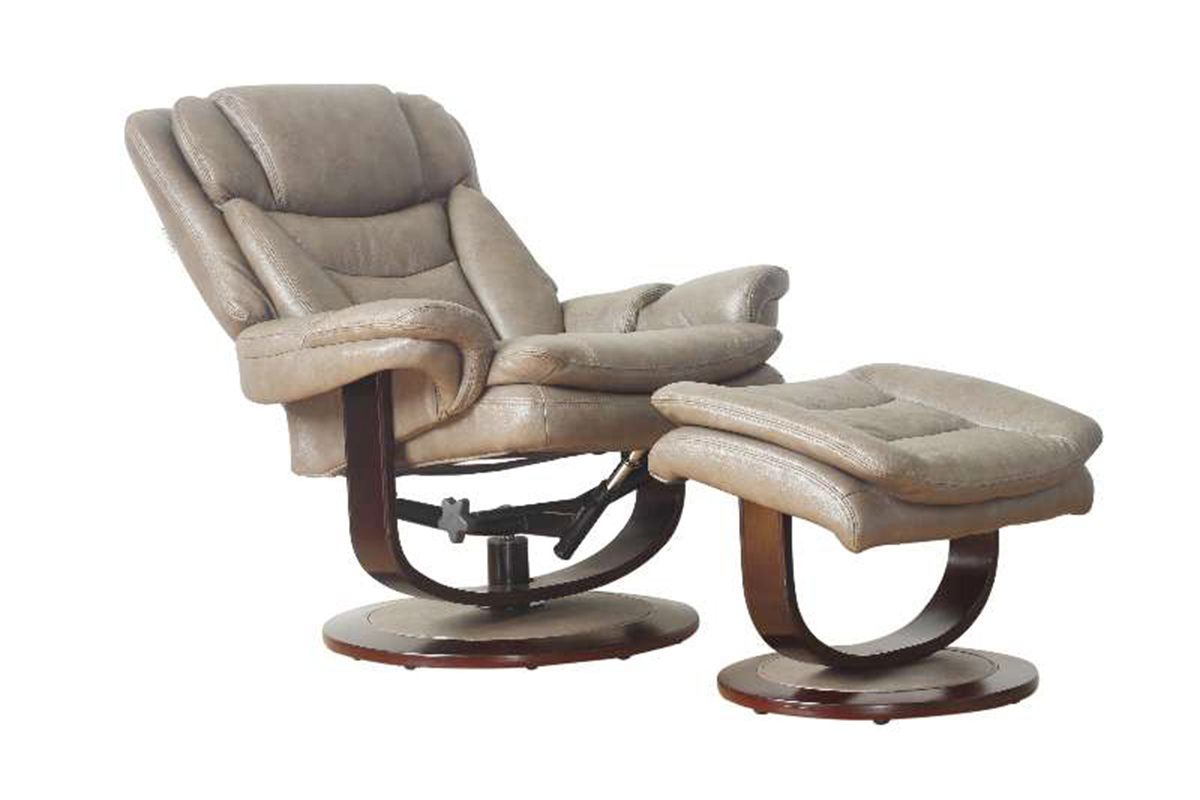 Barcalounger Roscoe Pedestal Recliner Chair and Ottoman - Chelsea Cobblestone/Leather Match