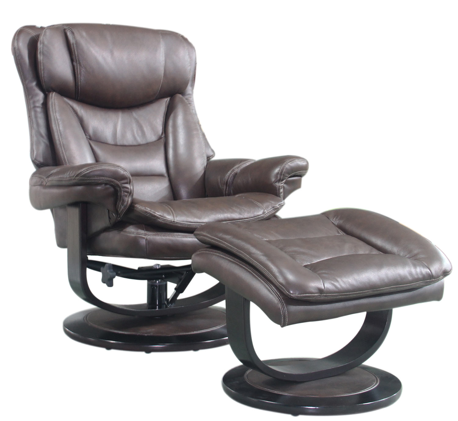 Barcalounger Roscoe Pedestal Recliner Chair and Ottoman - Chelsea Chocolate/Leather Match