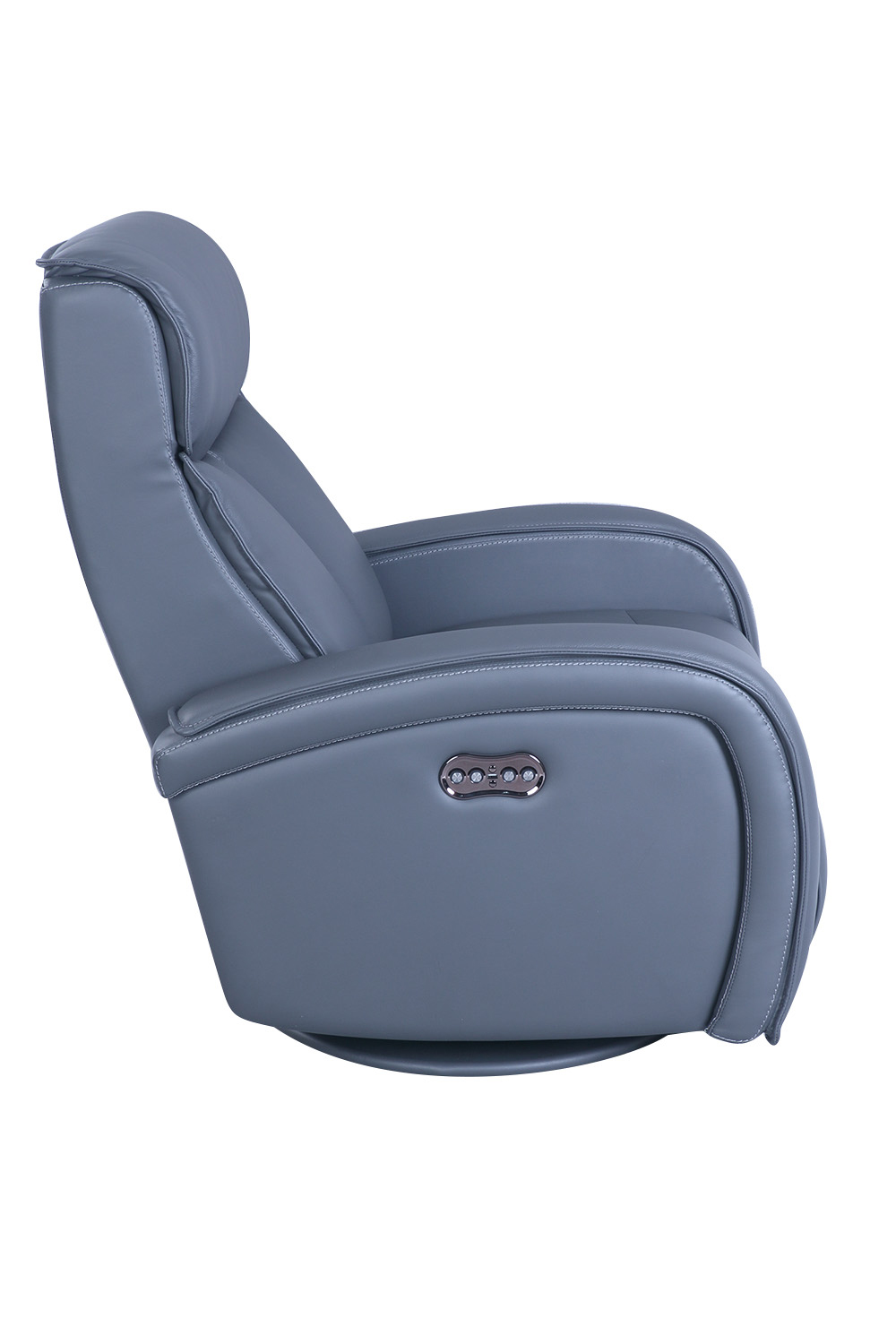 Barcalounger Nico Swivel Glider Power Recliner Chair with Power Head Rest - Marlene Gray/Leather Match