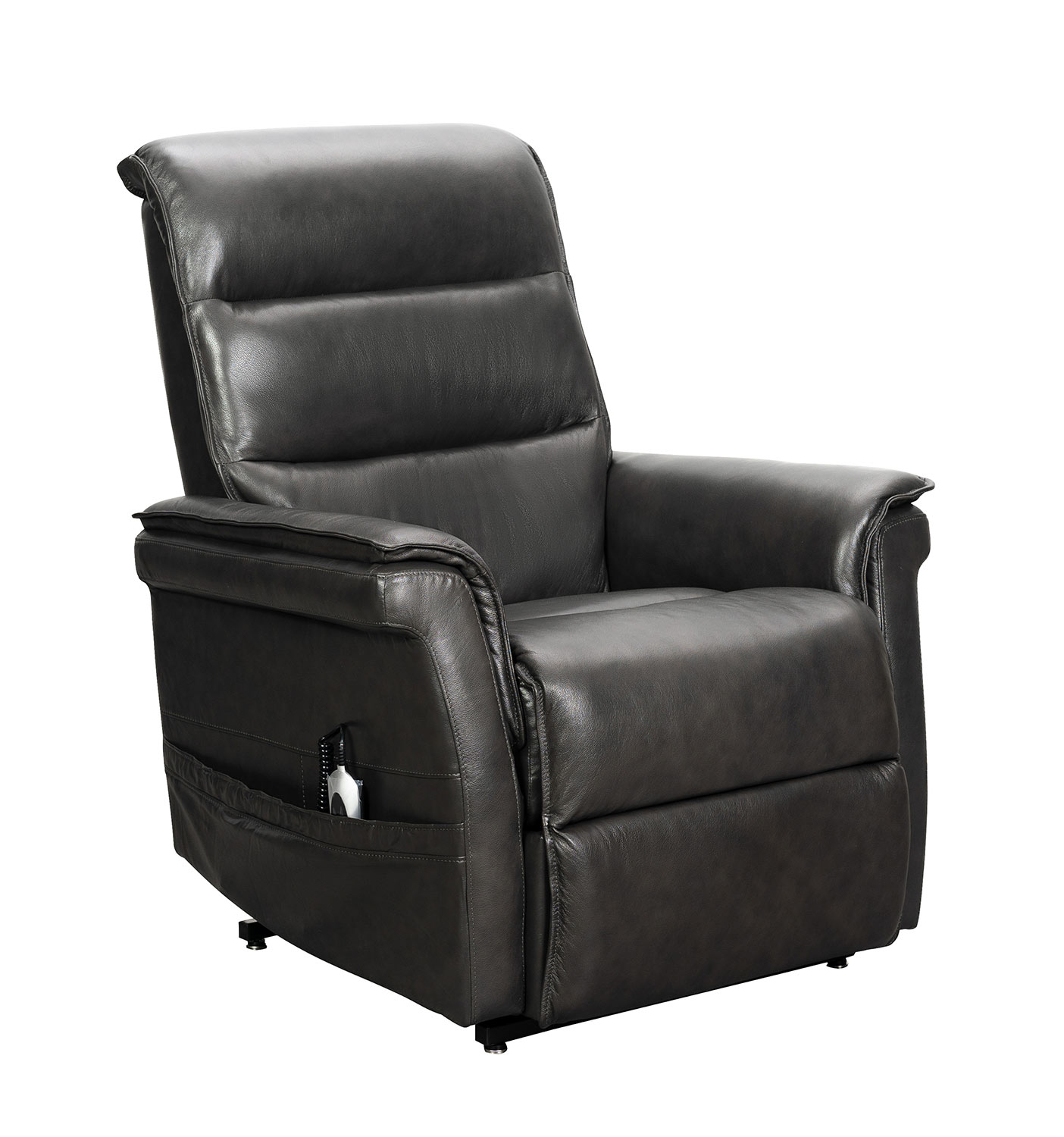 Barcalounger Luka Lift Chair Recliner with Power Head Rest - Venzia Grey/Leather Match