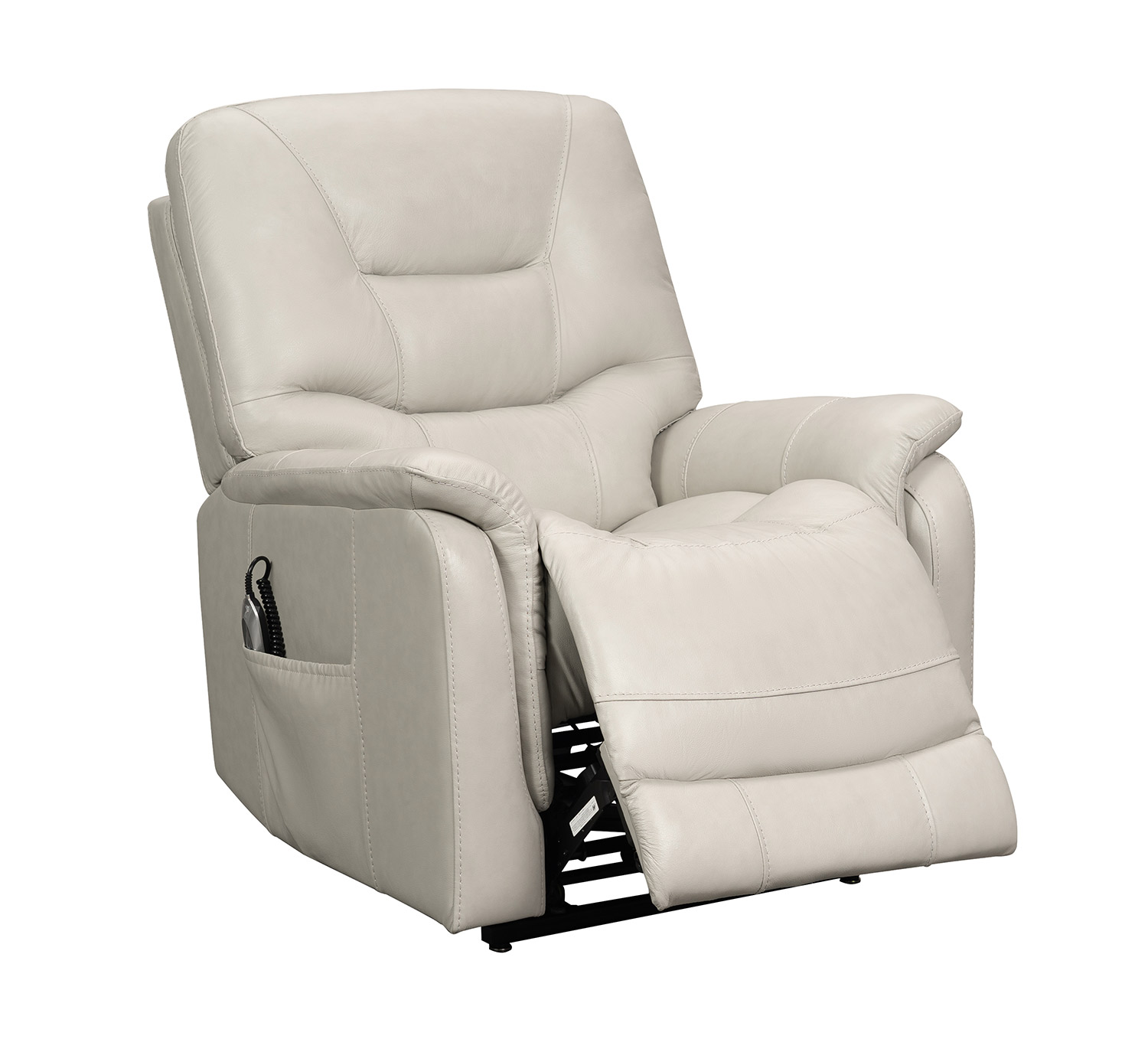 Barcalounger Lorence Lift Chair Recliner with Power Head Rest - Venzia Cream/Leather Match