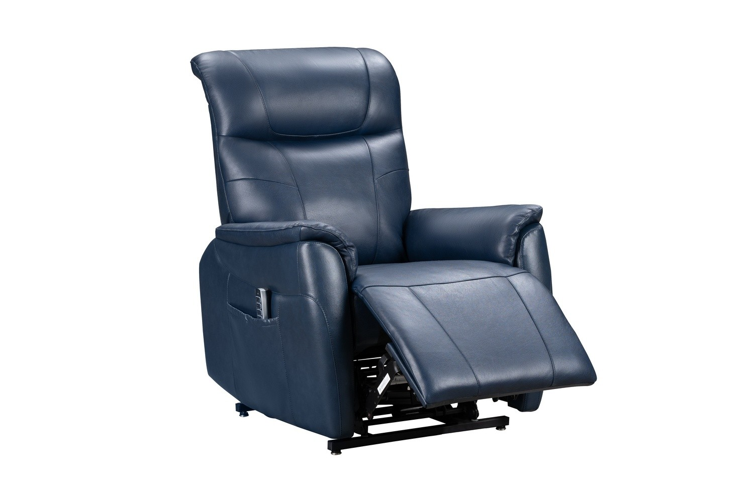 Barcalounger Leighton Lift Chair Recliner Chair with Power Head Rest, Power Lumbar and Lay Flat Mechanism - Marco Navy Blue/Leather Match