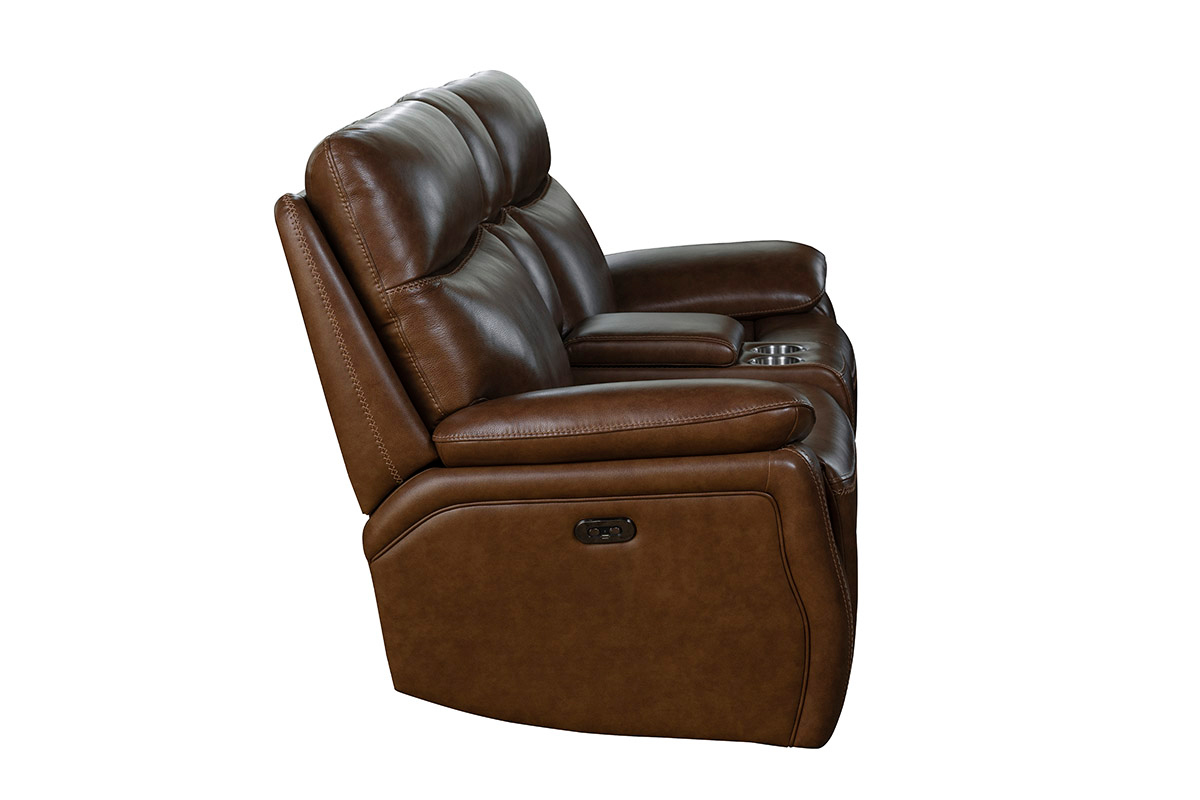 Barcalounger Micah Power Reclining Loveseat with Power Head Rests - Misha Chestnut/Leather Match