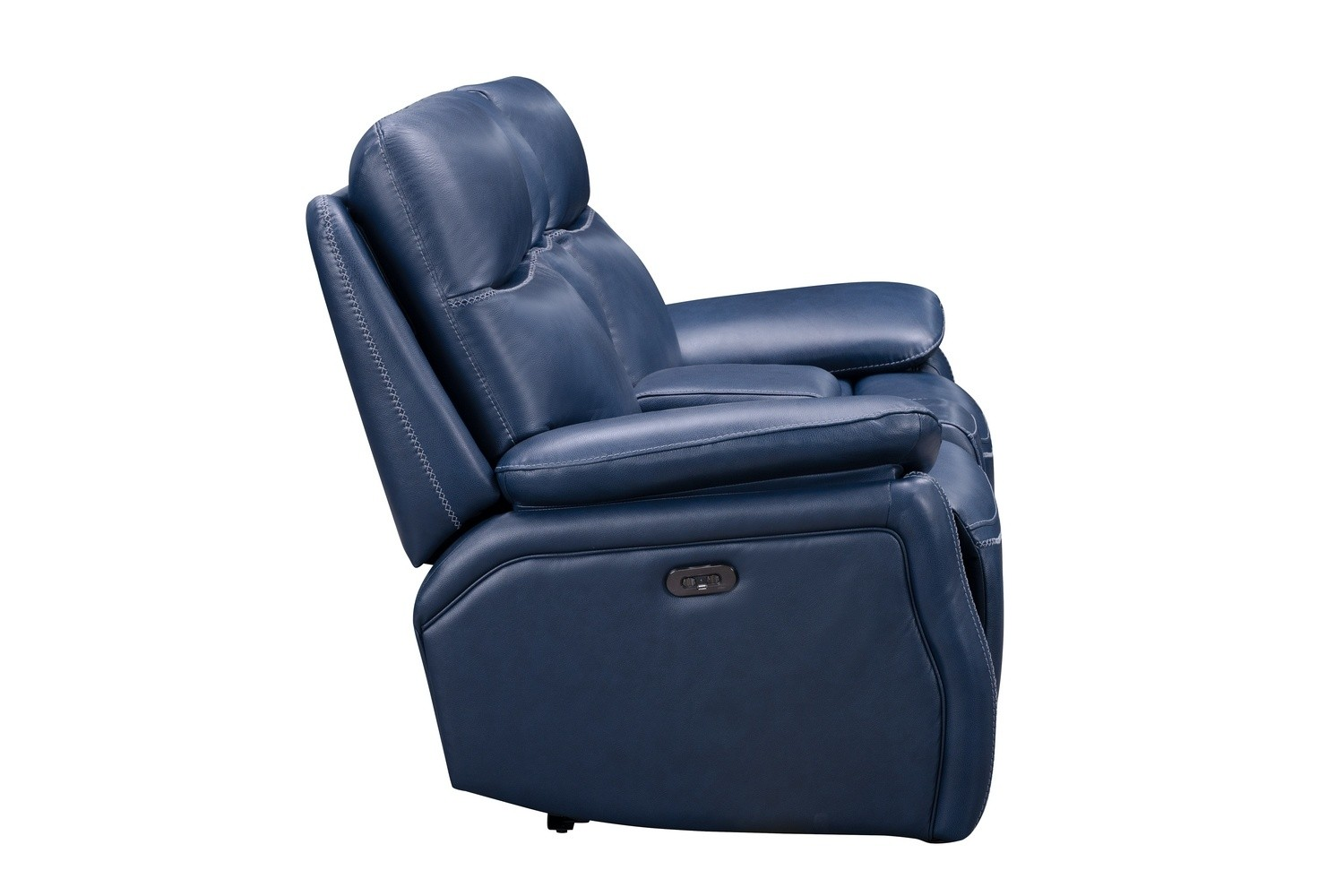 Barcalounger Micah Console Loveseat with Power Recline and Power Head Rests - Marco Navy Blue/Leather Match