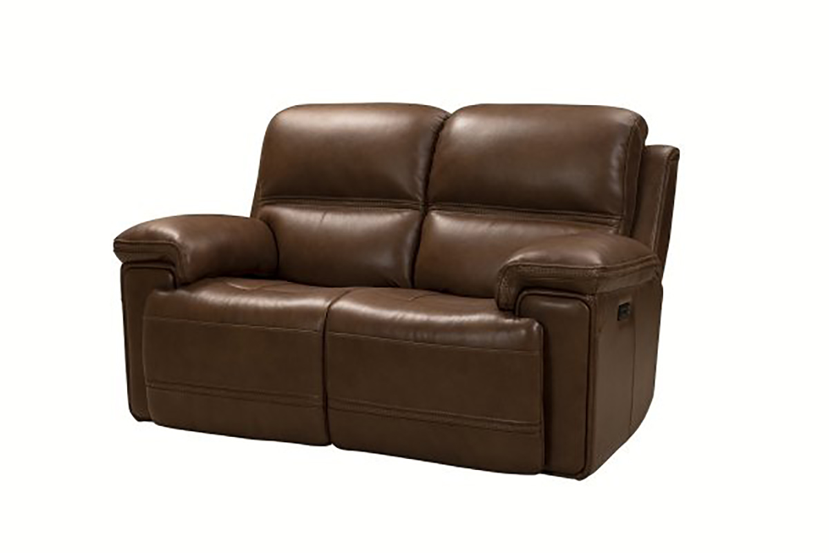 Barcalounger Sedrick Power Reclining Console Loveseat with Power Head Rests - Spence Caramel/Leather Match