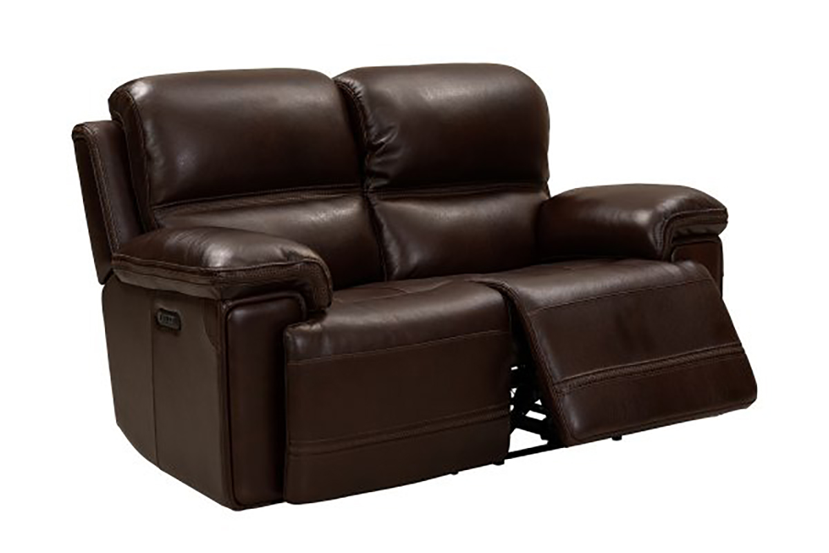 Barcalounger Sedrick Power Reclining Console Loveseat with Power Head Rests - El Paso Walnut/Leather Match