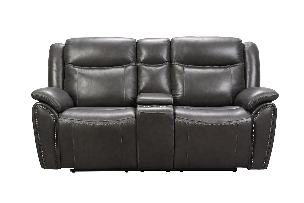 Barcalounger Holbrook Power Reclining Loveseat with Power Head Rests and Lumbar - Venzia Grey/Leather Match