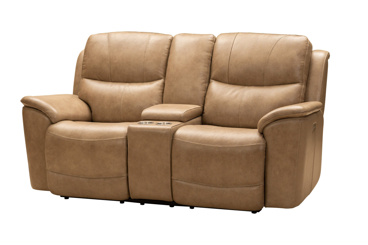 Barcalounger Kaden Power Reclining Console Loveseat with Power Head Rests and Lumbar - Elliott Taupe/Leather Match