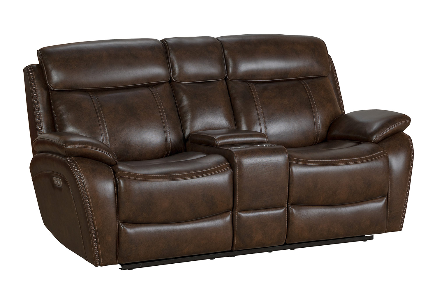 Barcalounger Sandover Power Reclining Console Loveseat with Power Head Rests and Lumbar - Tri-Tone Chocolate/Leather match