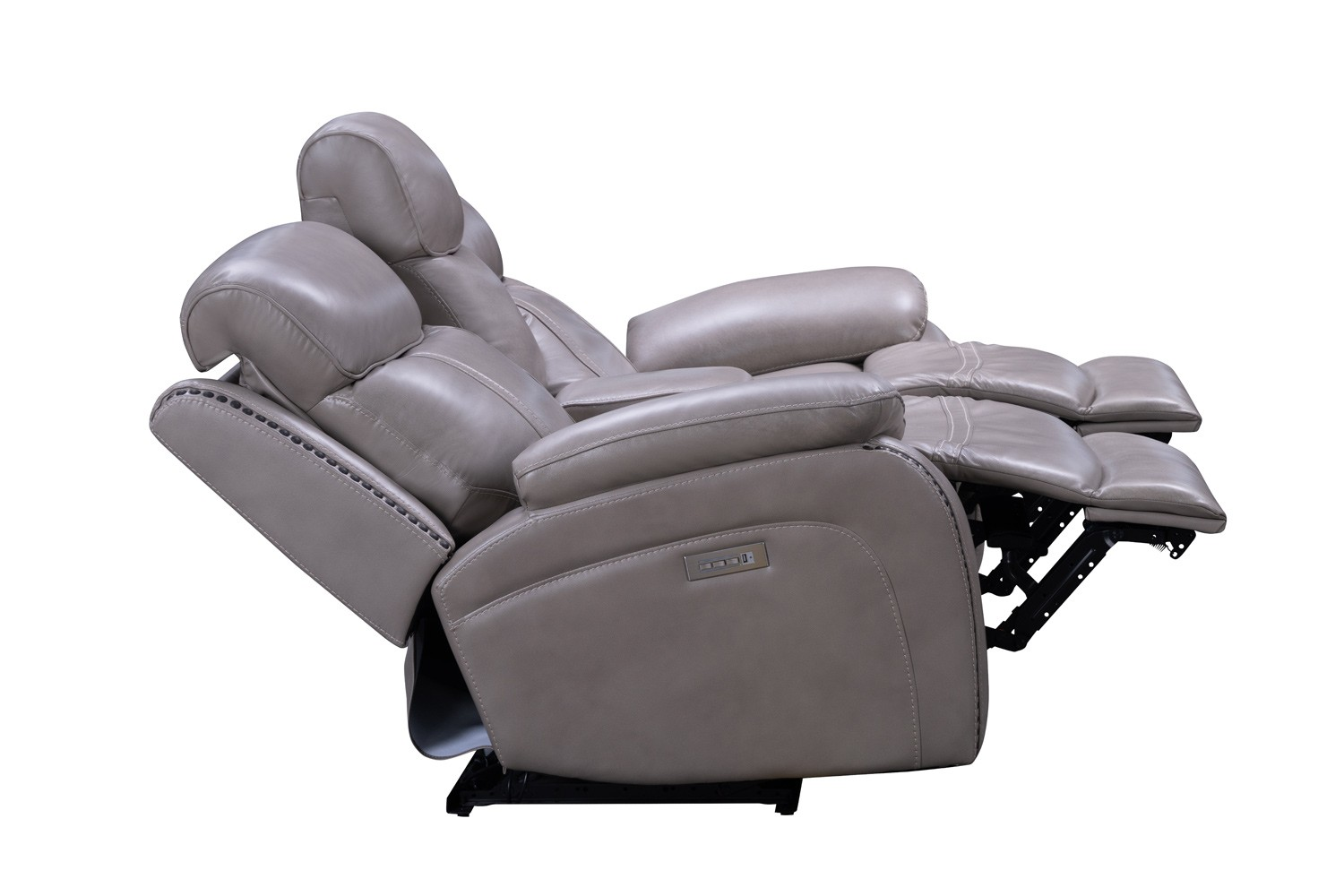 Barcalounger Sandover Power Reclining Console Loveseat with Power Head Rests and Lumbar - Sergi Gray Beige/Leather Match