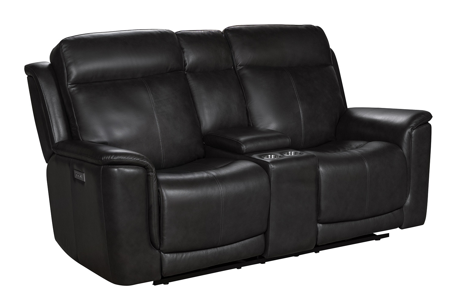 Barcalounger Burbank Power Reclining Console Loveseat with Power Head Rests and Lumbar - Matteo Smokey Gray/Leather match