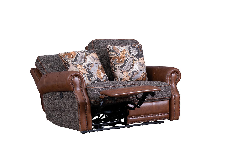 Barcalounger Jefferson Power Reclining Loveseat - Ryegate Tawny all leather/Eddystone Arabica fabric