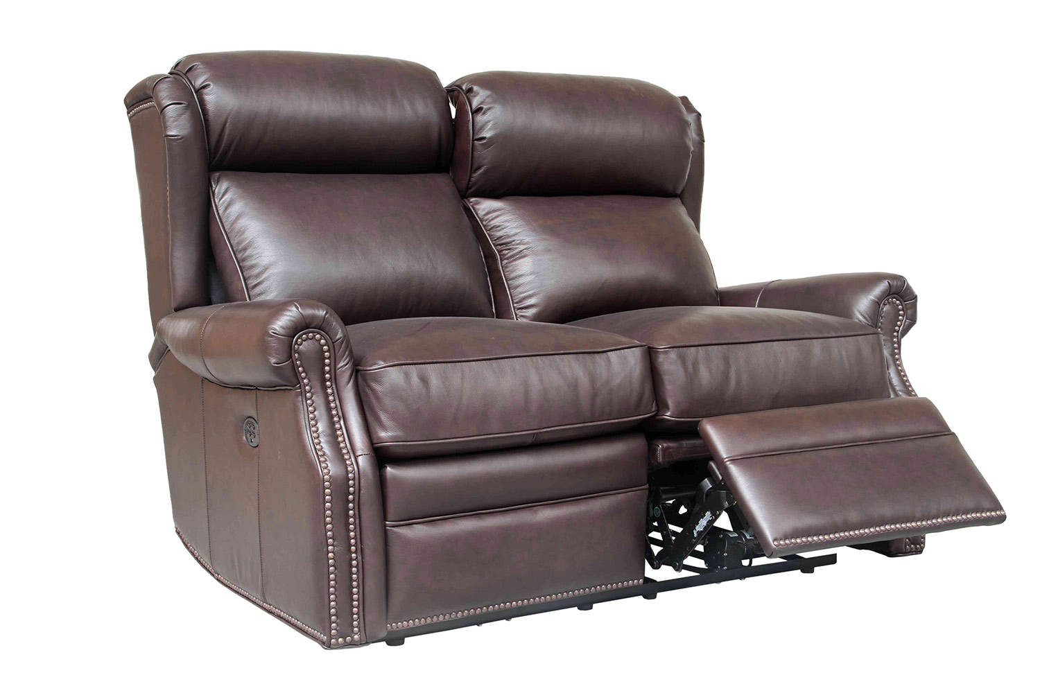 Barcalounger Southington Power Reclining Loveseat with Power Head Rests - Shoreham Dark Umber/All Leather