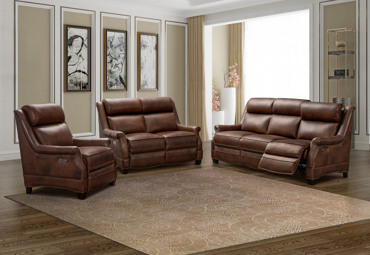 Barcalounger Warrendale Power Reclining Sofa Set with Power Head Rests - Worthington Cognac/All Leather