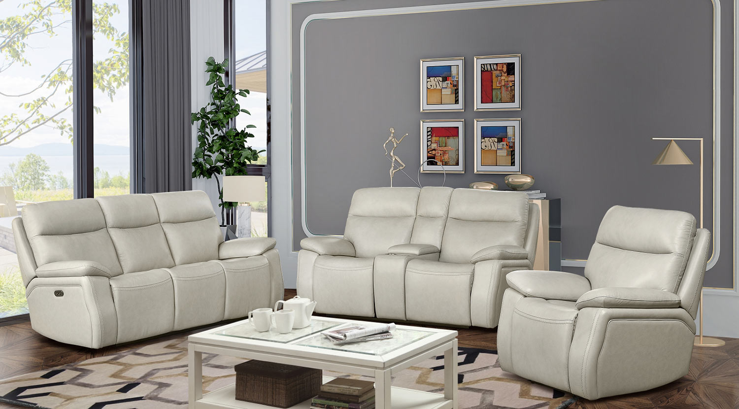 Barcalounger Micah Power Reclining Sofa Set with Power Head Rests - Venzia Cream/Leather Match
