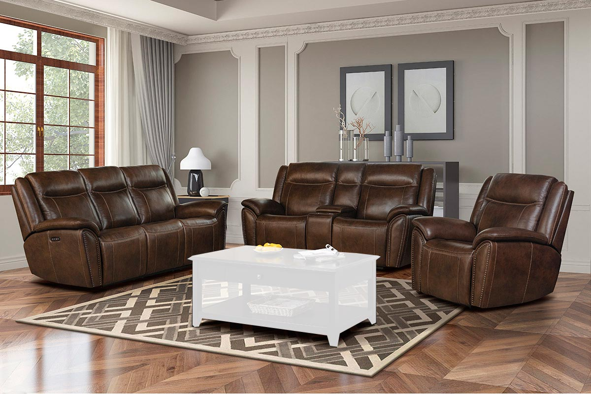 Barcalounger Holbrook Power Reclining Sofa Set with Power Head Rests and Lumbar - Venzia Brown/Leather Match