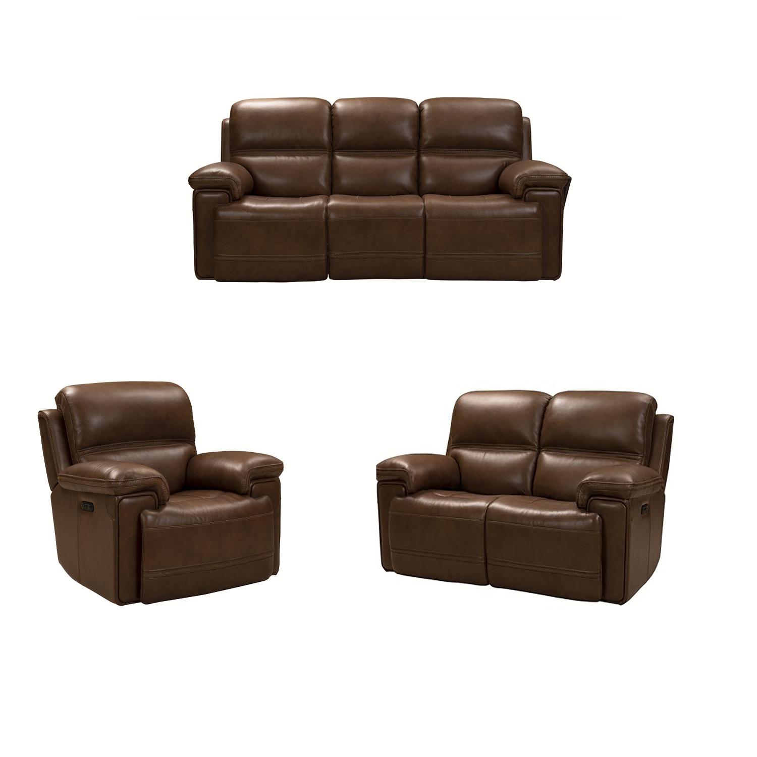 Barcalounger Sedrick Power Reclining Sofa Set with Power Head Rests - Spence Caramel/Leather Match