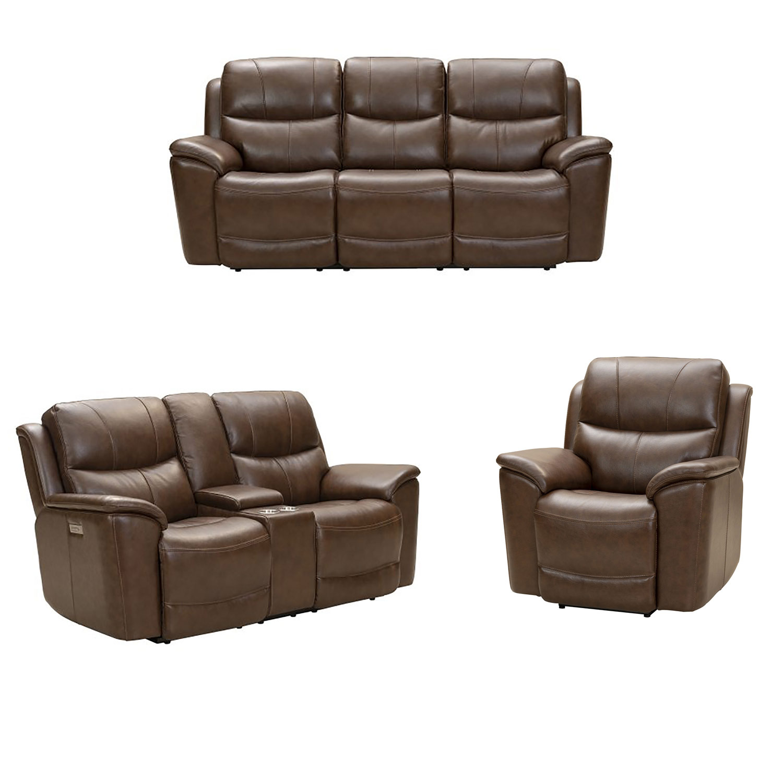 Barcalounger Kaden Power Reclining Sofa Set with Power Head Rests and Lumbar - Jarod Brown/Leather Match