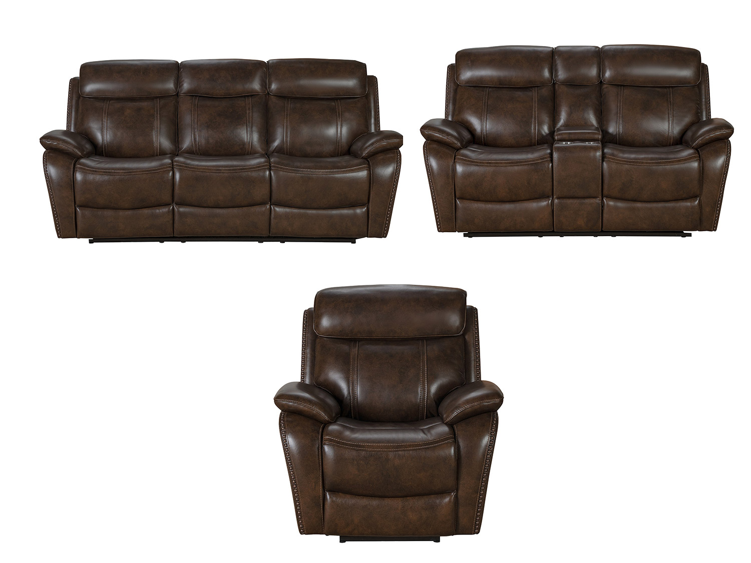 Barcalounger Sandover Power Reclining Sofa Set with Power Head Rests and Lumbar - Tri-Tone Chocolate/Leather match