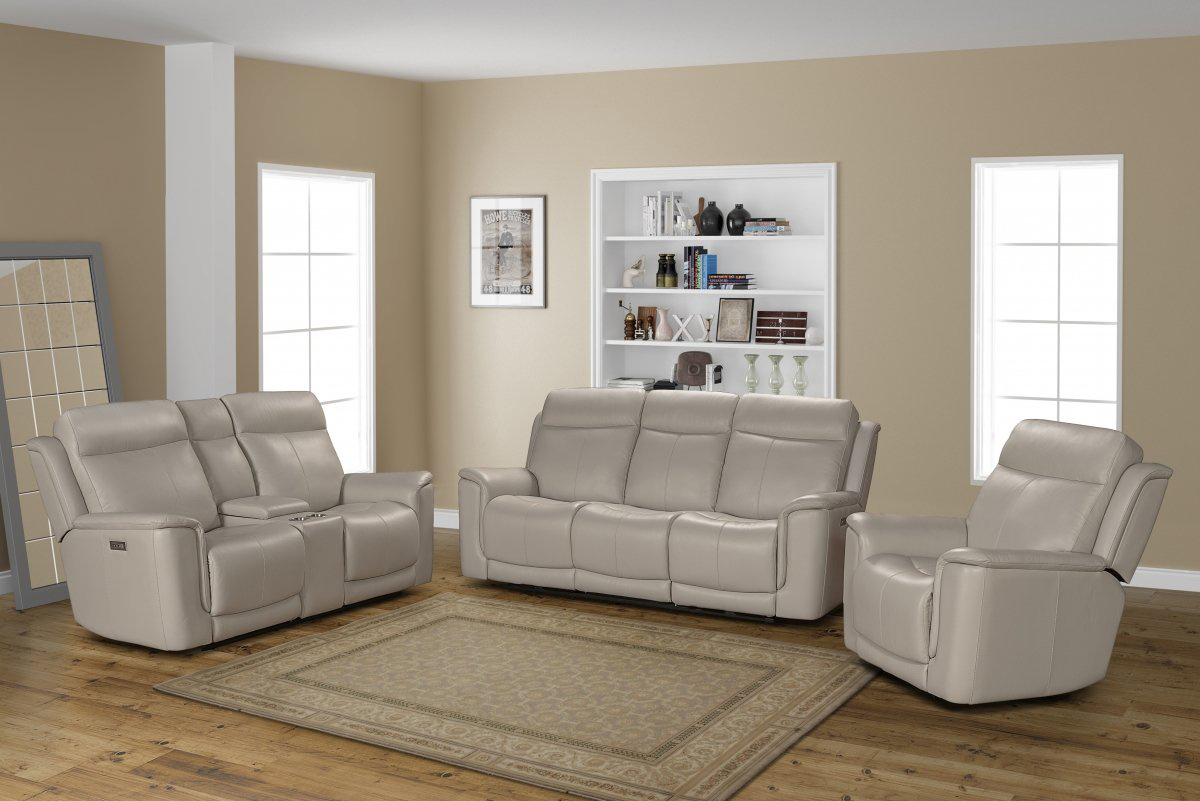 Barcalounger Burbank Power Reclining Sofa Set with Power Head Rests and Lumbar - Laurel Cream/Leather match