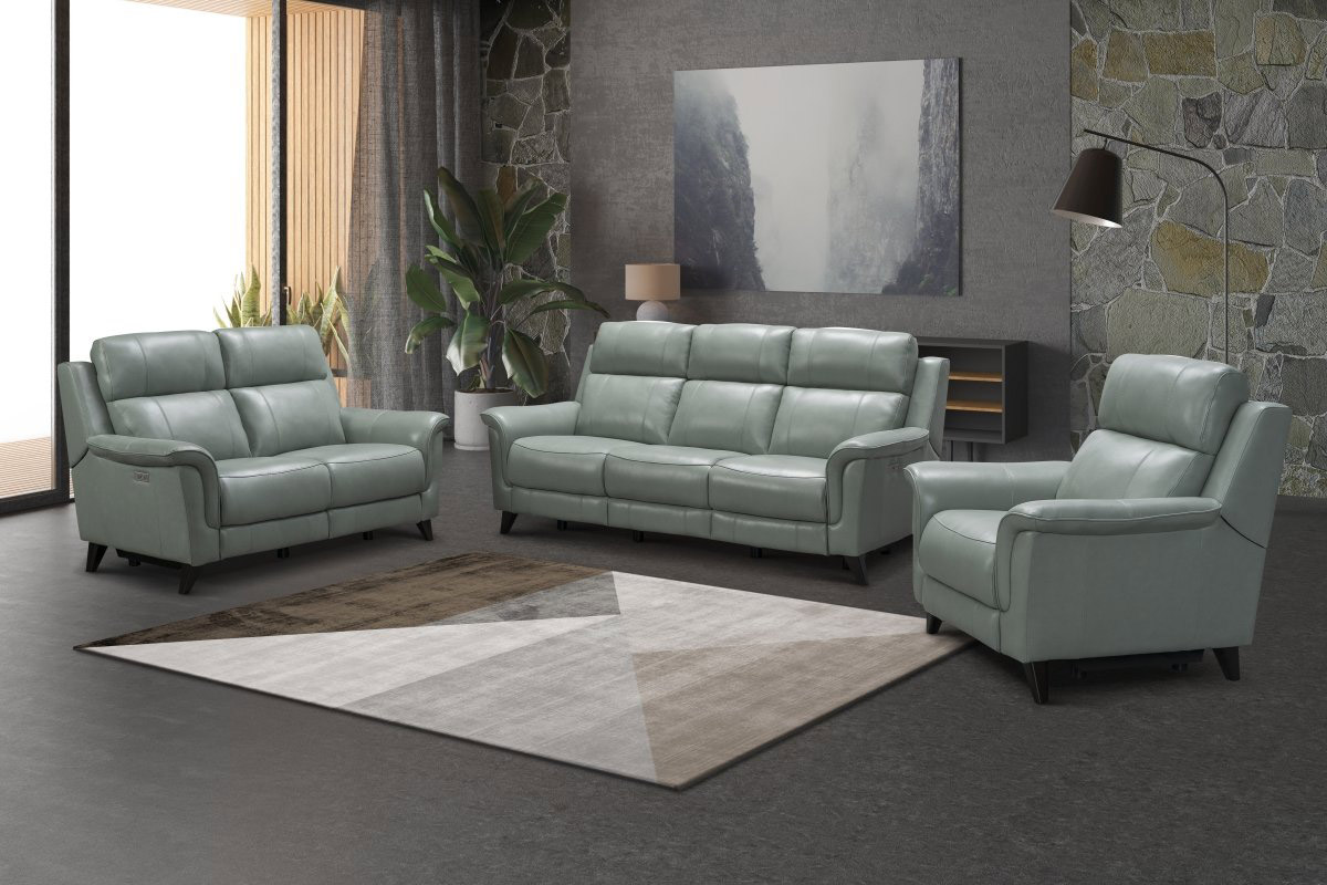 Barcalounger Kester Power Reclining Sofa Set with Power Head Rests - Lorenzo Mint/Leather match