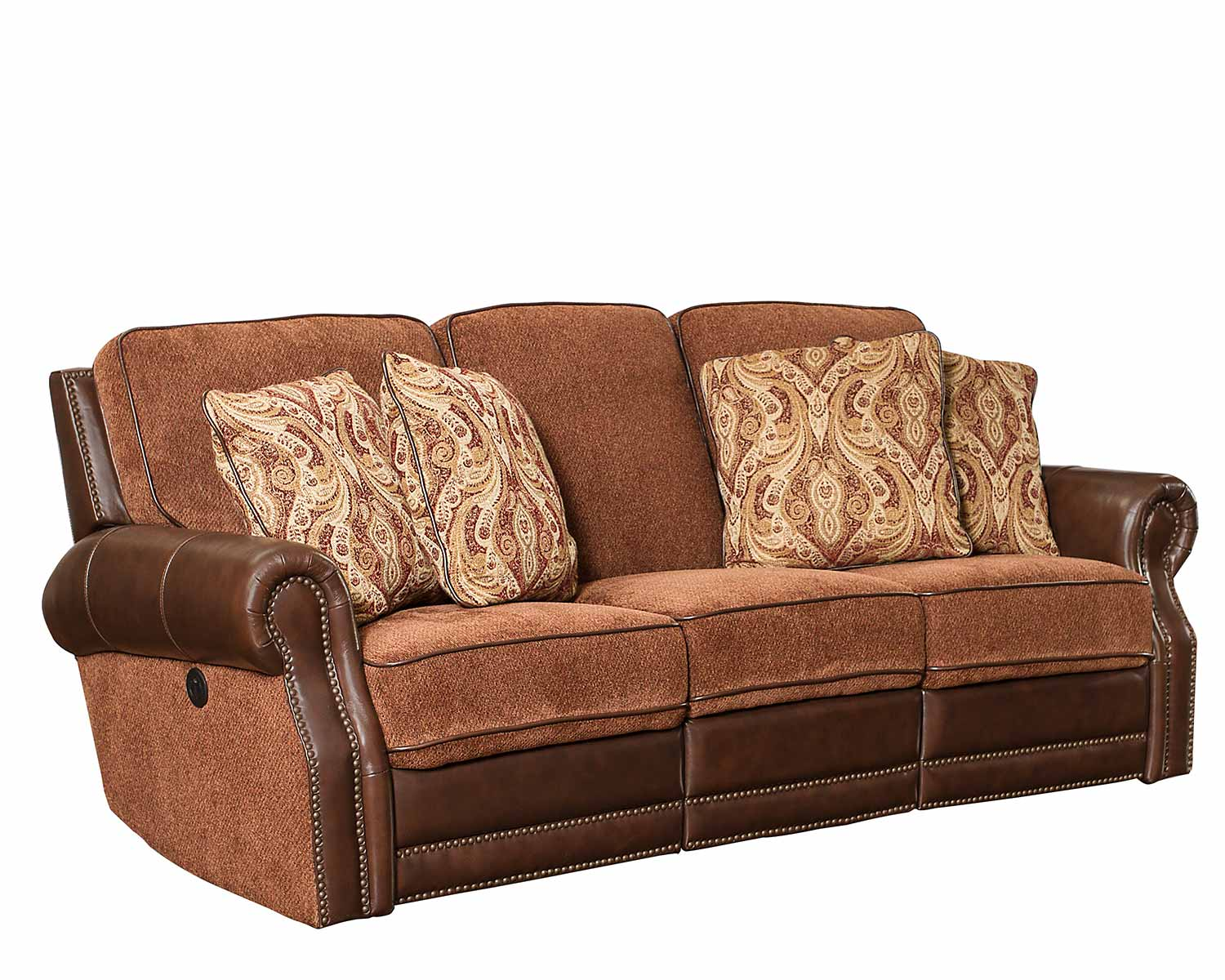 Barcalounger Jefferson Power Reclining Sofa - Yadkin Bark/Caravane Auburn fabric