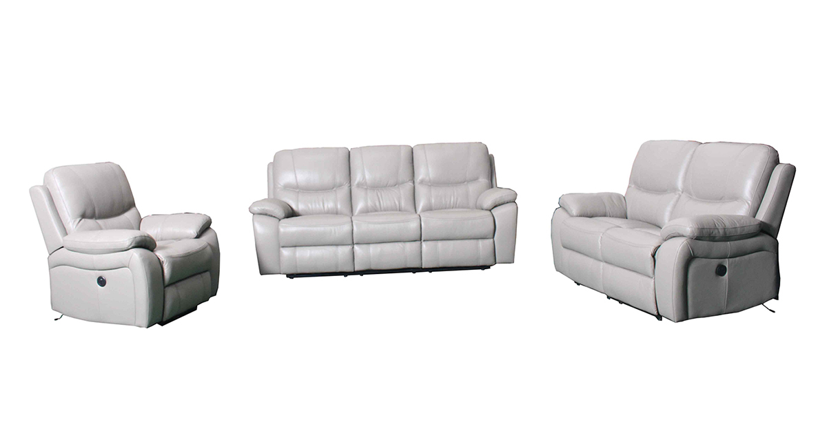 Barcalounger Laguna Power Reclining Sofa Set - Cashmere White/Leather Match