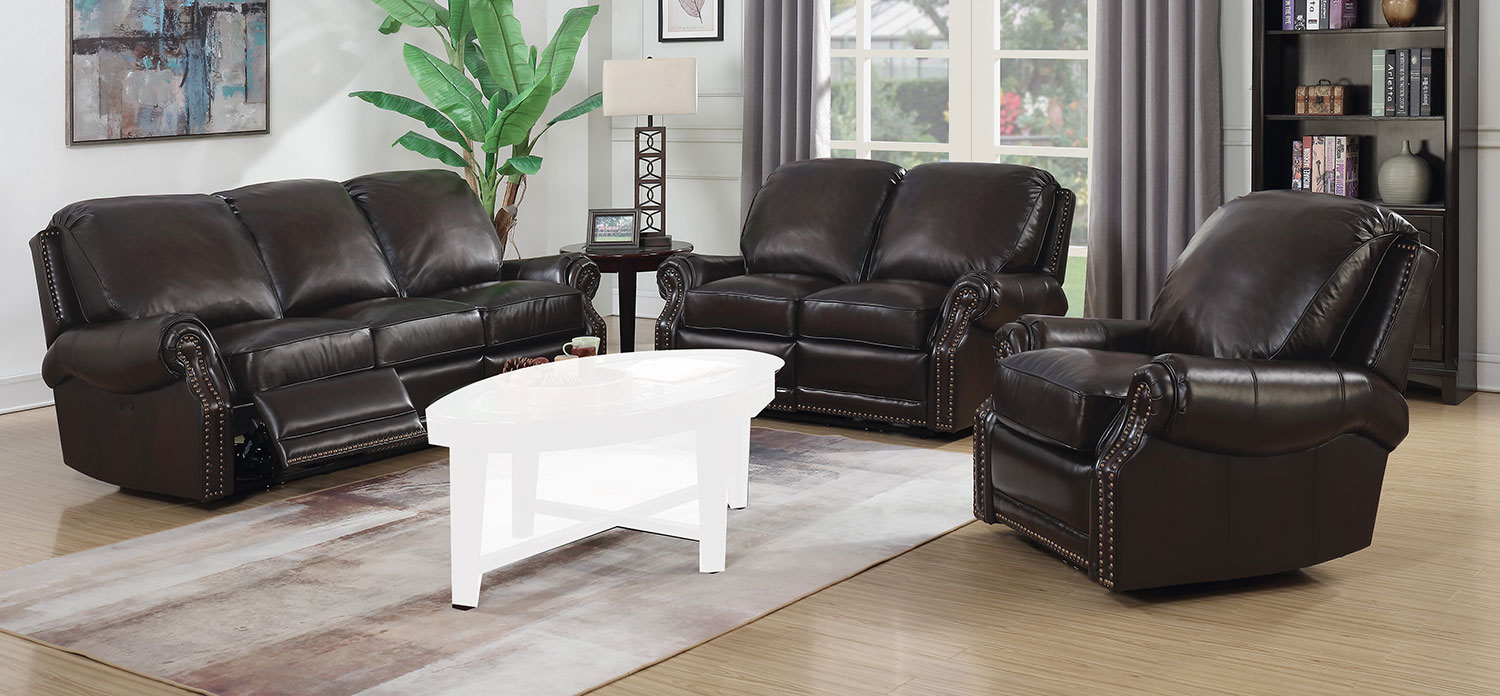 Barcalounger Premier Power Reclining Sofa Set Stetson Coffee All Leather