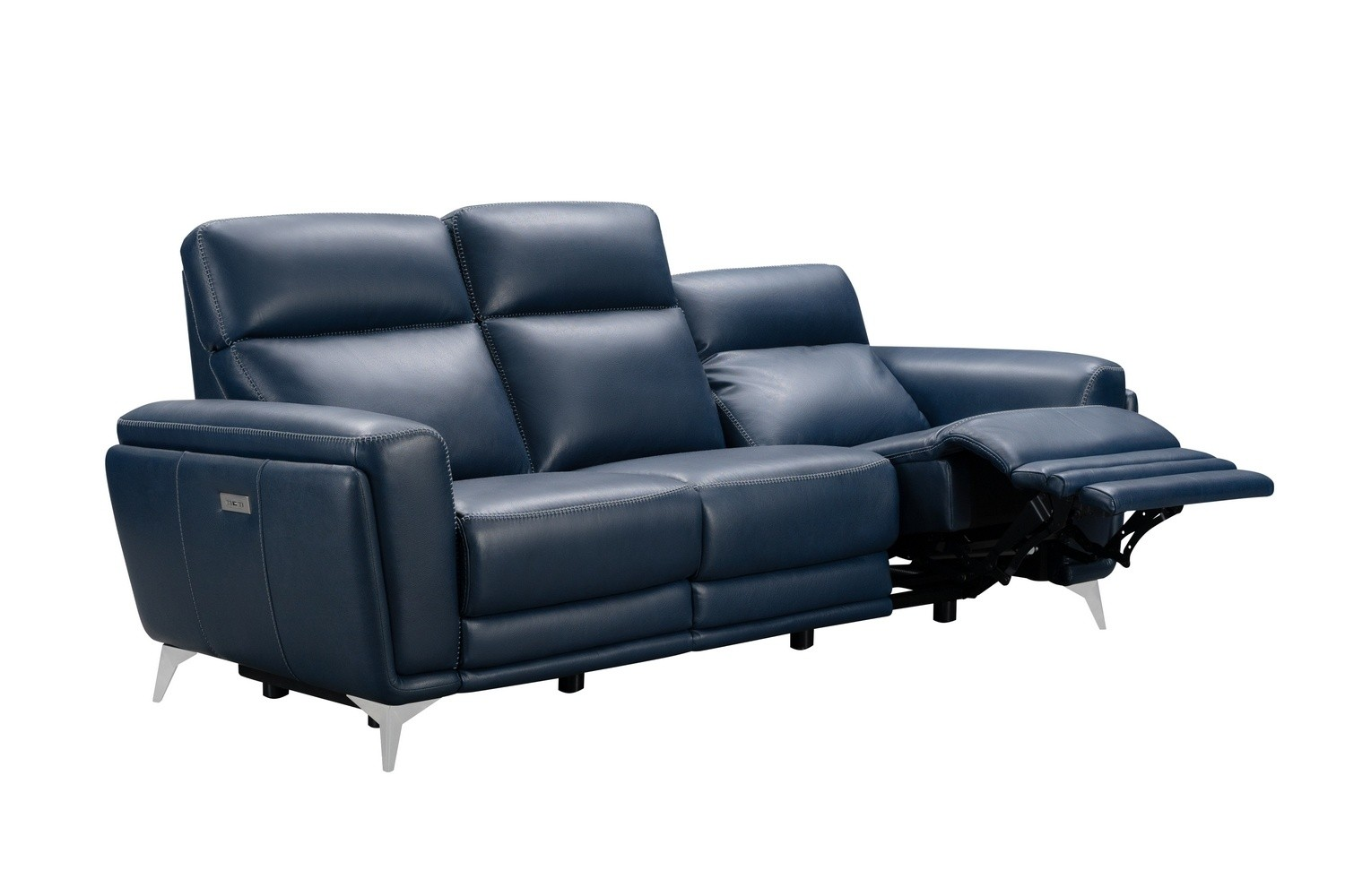 Barcalounger Cameron Power Reclining Sofa with Power Head Rests - Marco Navy Blue/Leather Match