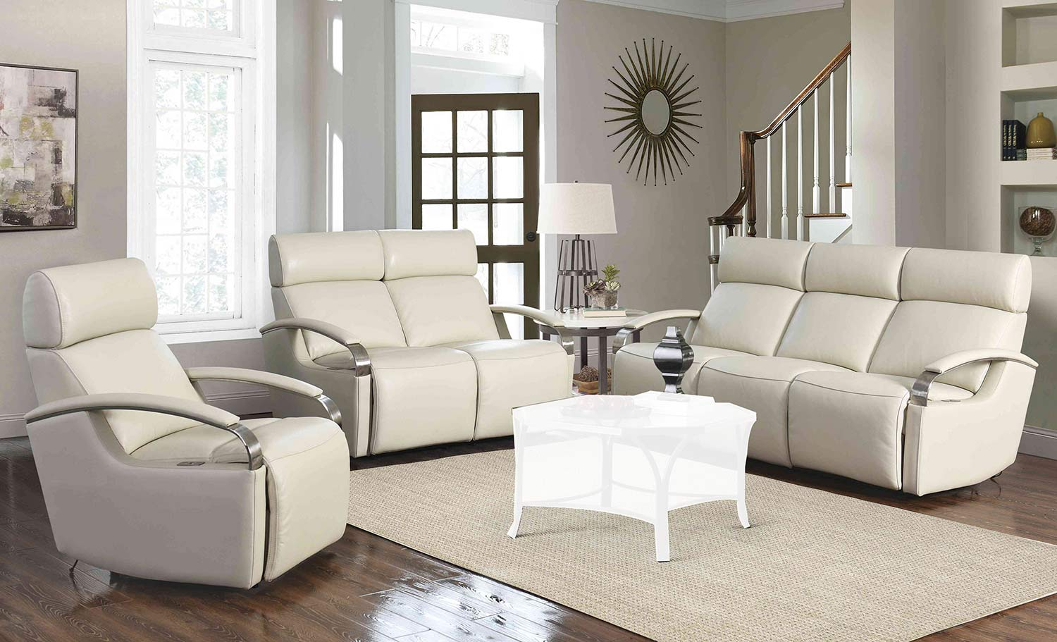 Barcalounger Cosmo Power Reclining Sofa Set with Power Head Rests - Cashmere White/Leather Match