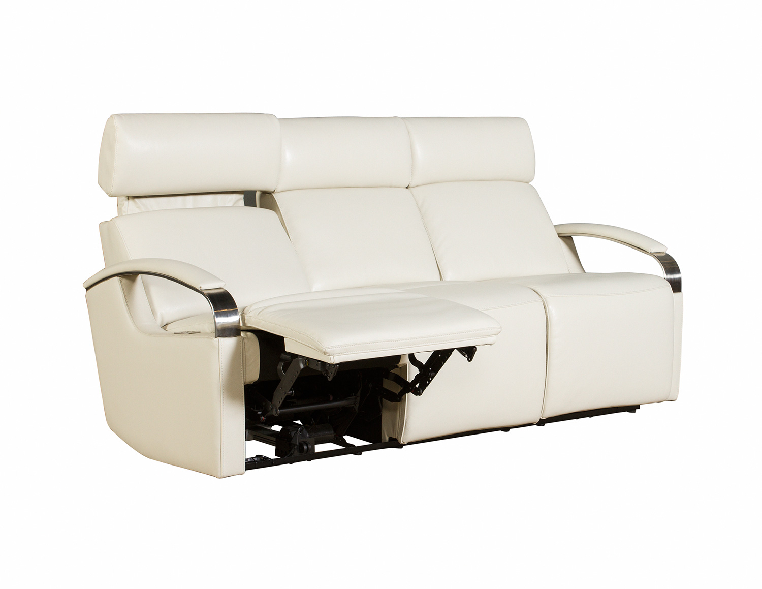 Barcalounger Cosmo Power Reclining Sofa with Power Head Rests - Cashmere White/Leather Match