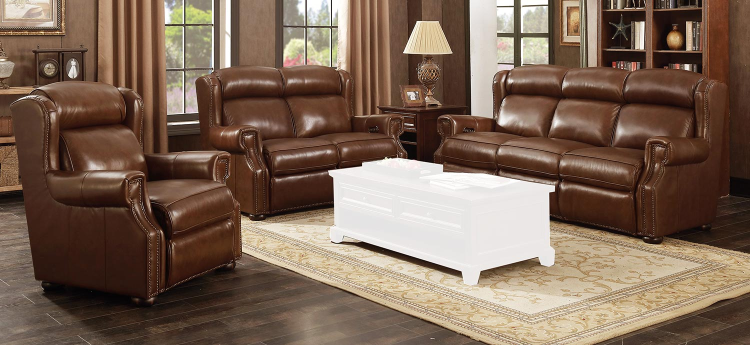 Barcalounger Benwick Power Reclining Sofa Set with Power Head Rests - Shoreham Chocolate/All Leather
