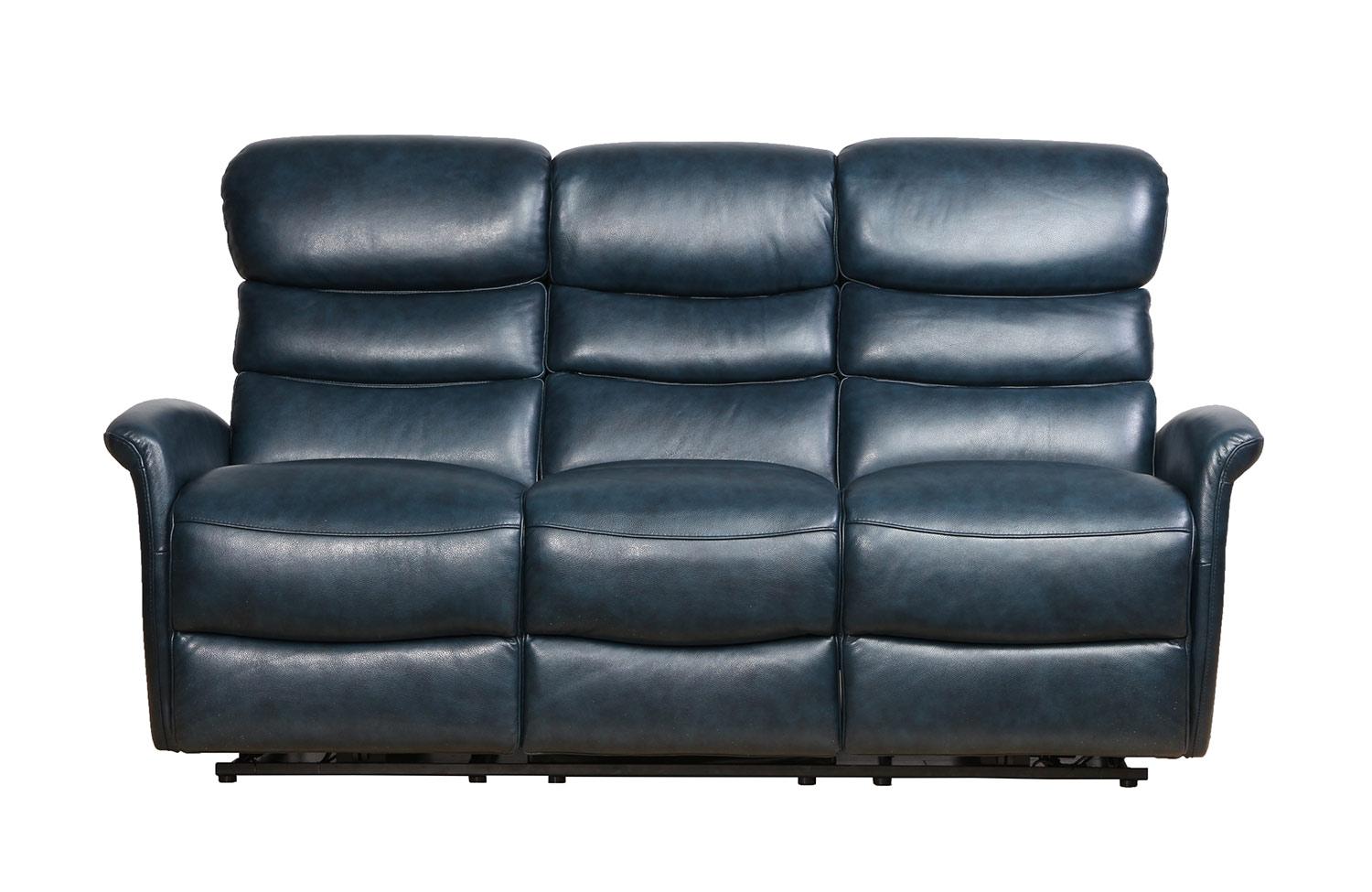 Barcalounger Kelso Power Reclining Sofa with Power Head Rests - Ryegate Sapphire Blue/Leather Match