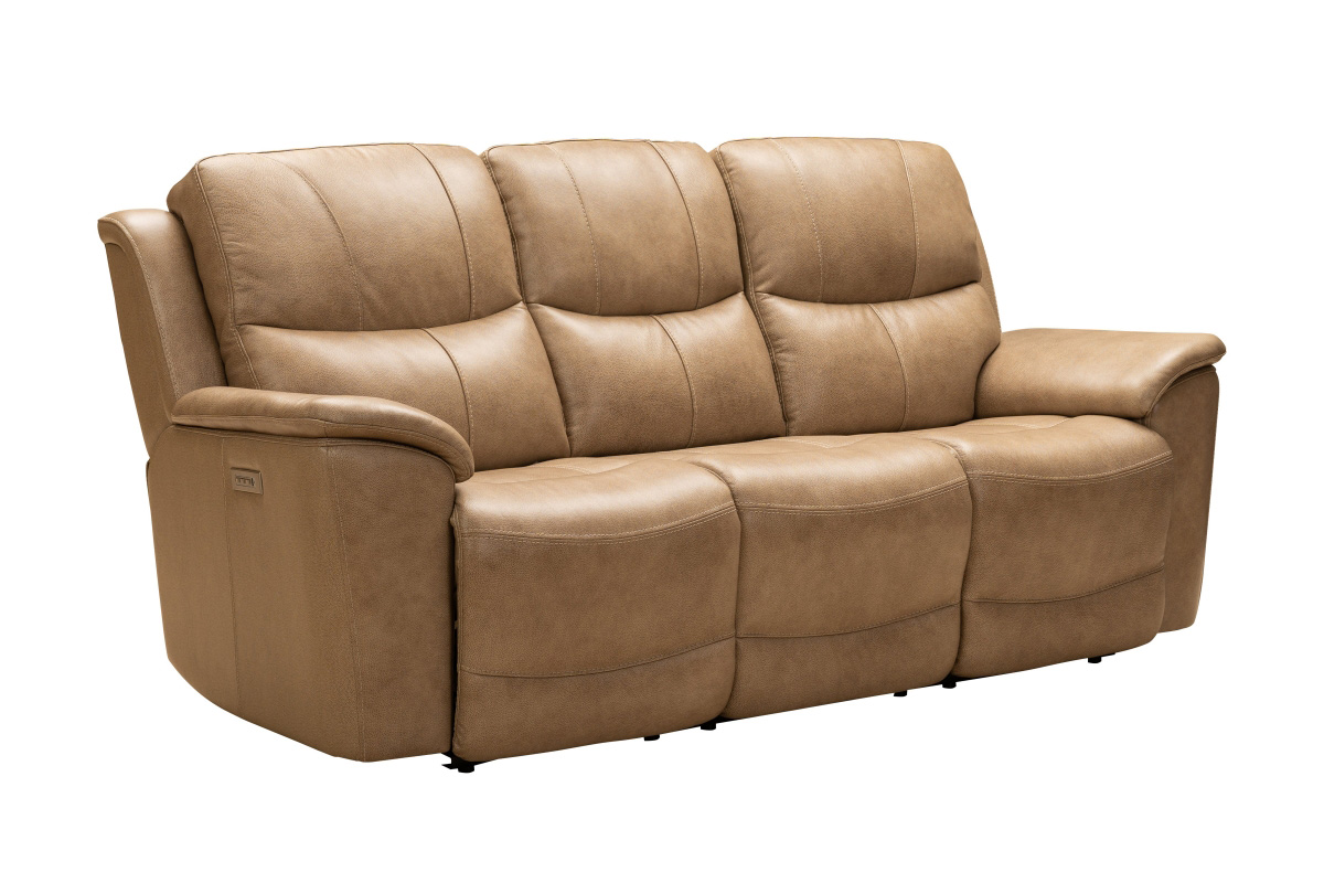 Barcalounger Kaden Power Reclining Sofa with Power Head Rests and Lumbar - Elliott Taupe/Leather Match