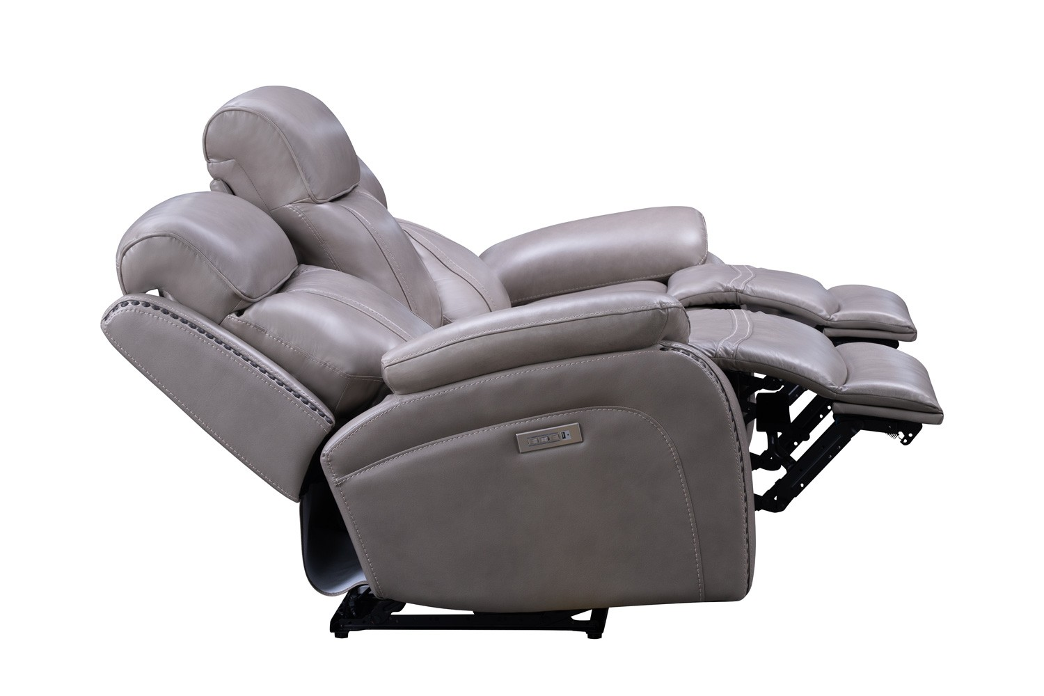 Barcalounger Sandover Power Reclining Sofa with Power Head Rests, Power Lumbar and Drop Down Table - Sergi Gray Beige/Leather Match