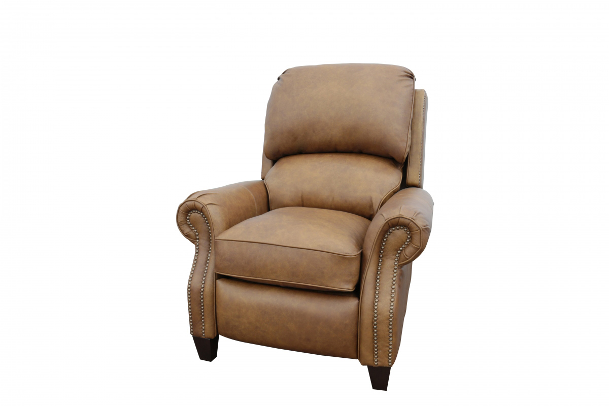 Barcalounger Churchill Recliner Chair - Rustic Bourbon/All Top Rain Leather