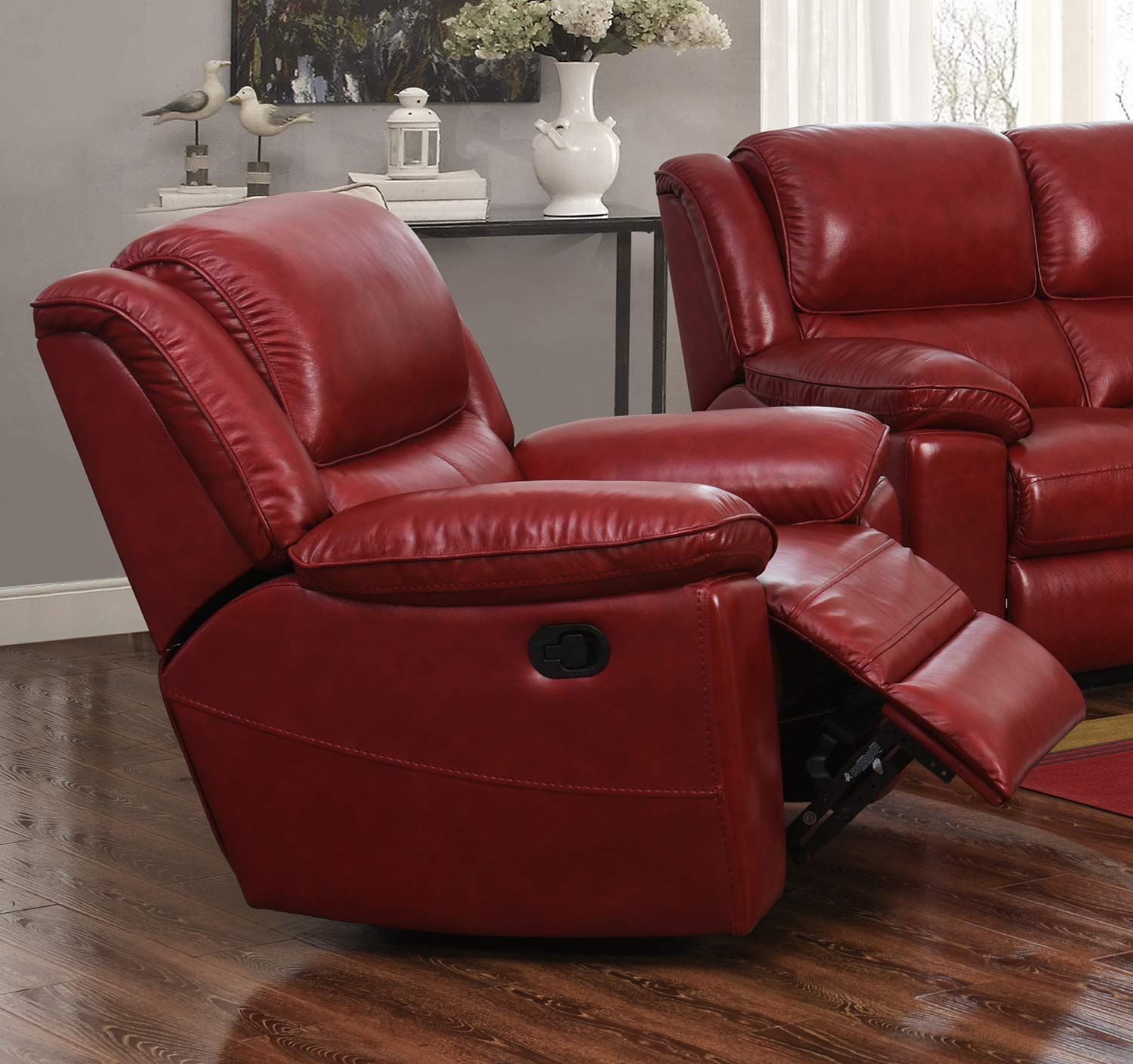Barcalounger Laguna Swivel Glider Recliner Chair - Contact Red/Leather Match