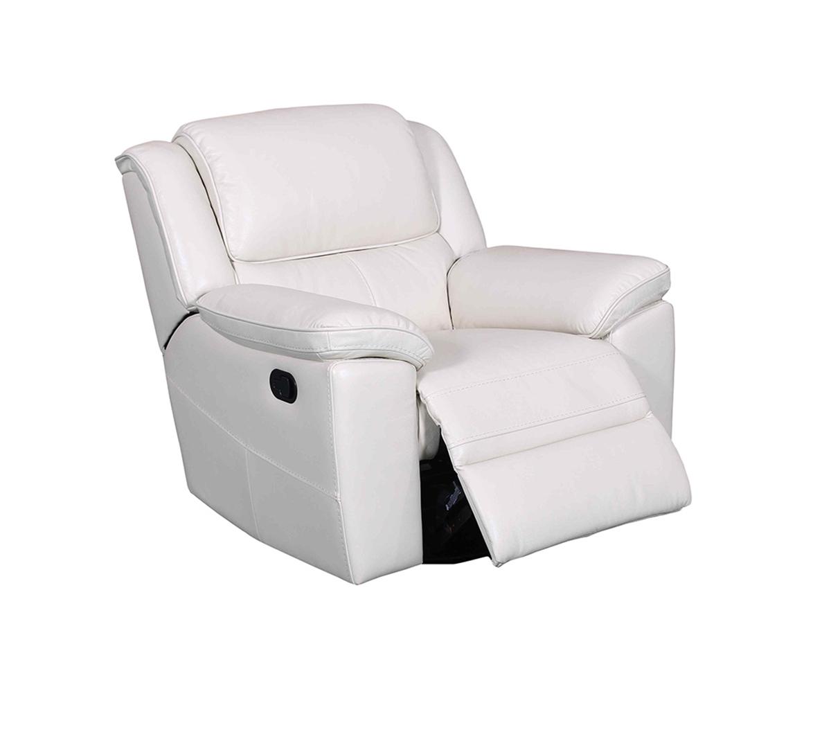 Barcalounger Laguna Swivel Glider Recliner Chair - Cashmere White/Leather Match