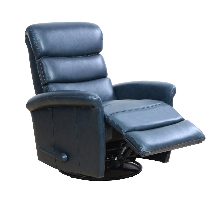 Barcalounger Jack Swivel Glider Recliner Chair   Ryegate Sapphire  Blue/Leather Match