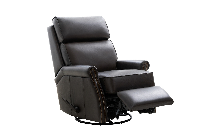 Barcalounger Crews Swivel Glider Recliner Chair - Bennington Chestnut/All Leather