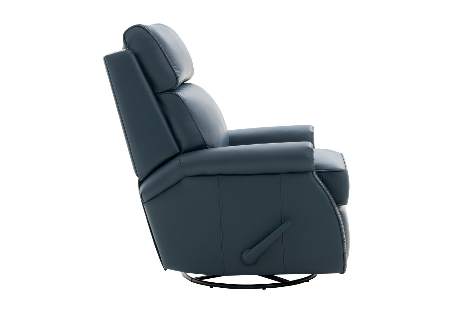 Barcalounger Crews Swivel Glider Recliner Chair - Prestin Yale Blue/All Leather