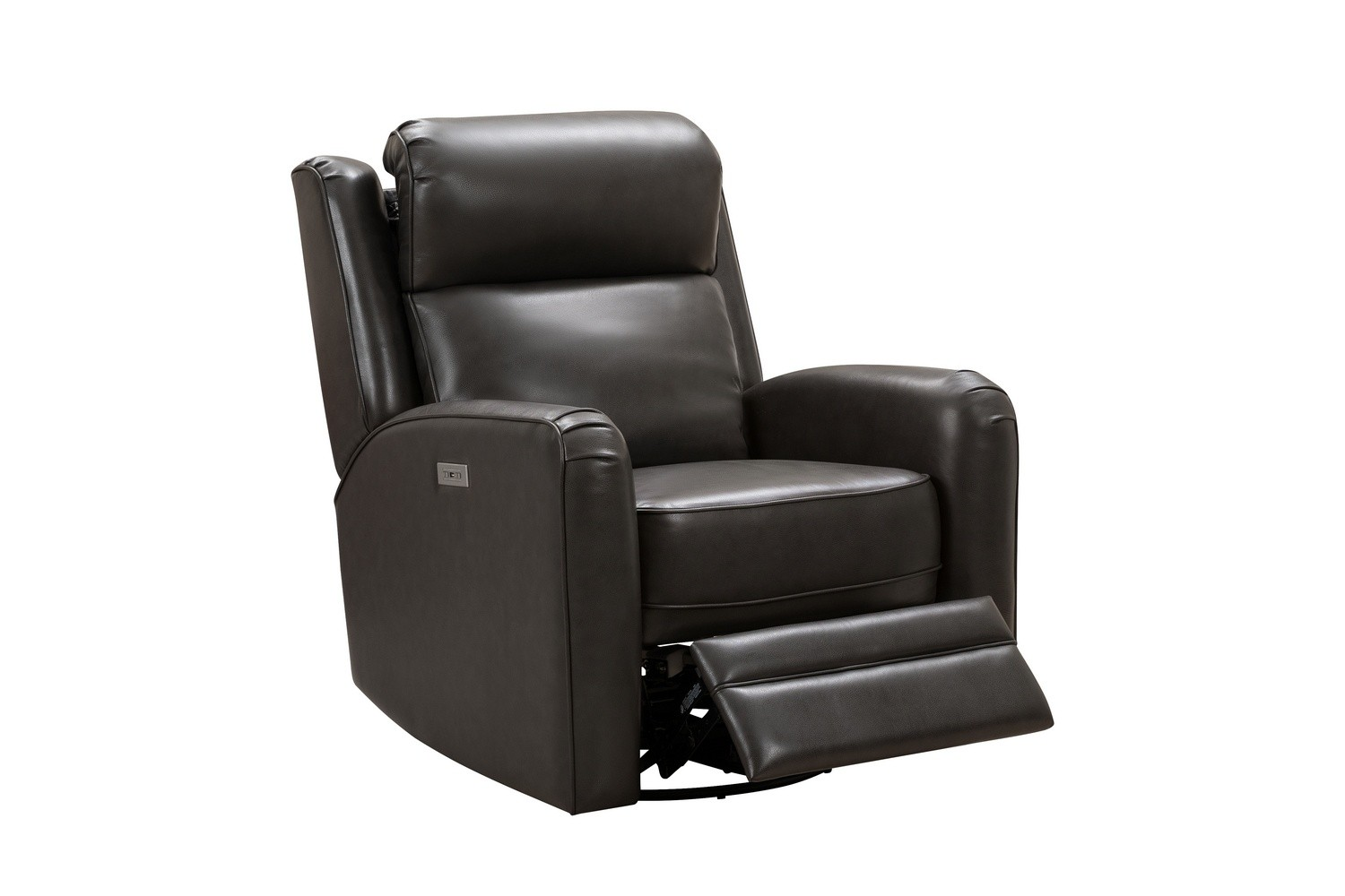Barcalounger Kennedy Big and Tall Power Swivel Recliner Chair with Power Head Rest - Matteo Smokey Gray/Leather Match