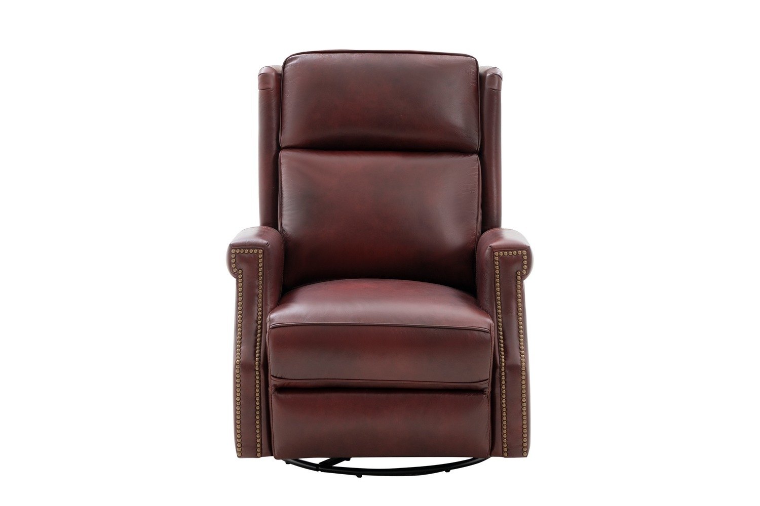 Barcalounger Brookmore Swivel Glider Recliner Chair with Power Recline and Power Head Rest - Emerson Sangria/Top Grain Leather