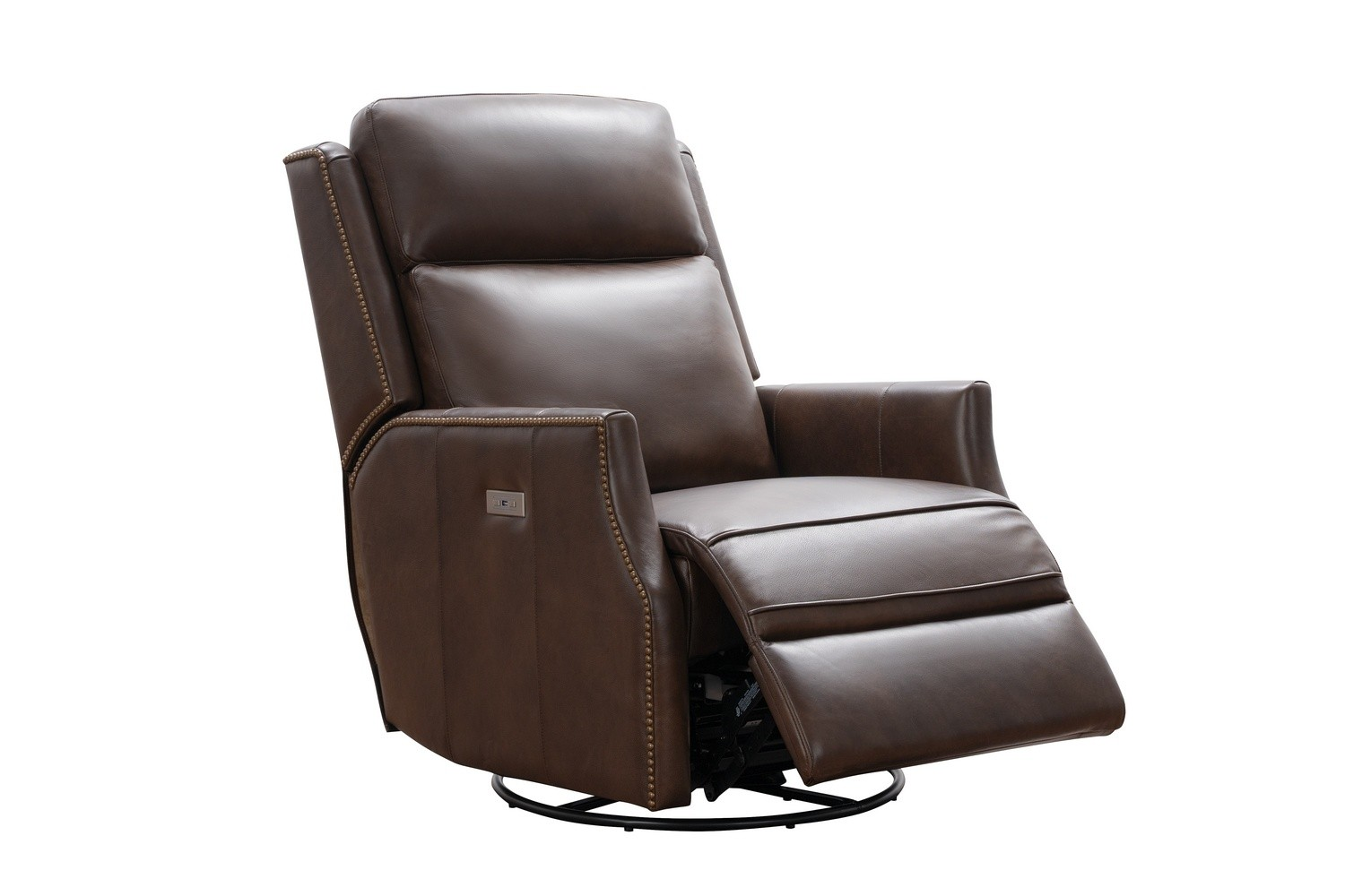 Barcalounger Cavill Swivel Glider Recliner Chair with Power Recline and Power Head Rest - Ashford Walnut/All Leather