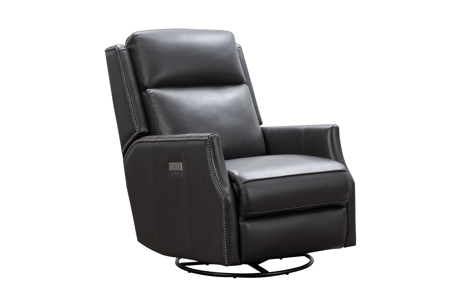 Barcalounger Cavill Swivel Glider Recliner Chair with Power Recline and Power Head Rest - Shoreham Gray/All Leather